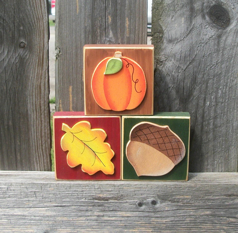 Fall Autumn Wood Block Shelf Sitters for Interchangeable Welcome Sign - TimelessTreasuresbyK