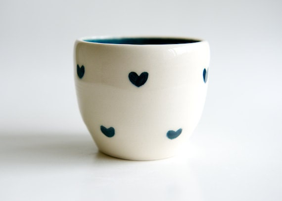 Ceramic Bowl with Teal Hearts by RossLab - RossLab
