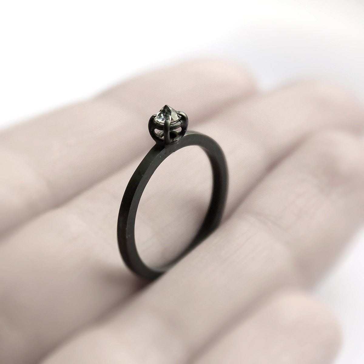 Micro thorn . brazilian aquamarine oxidized sterling silver ring