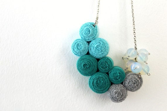 Ocean Fibre Necklace with Opal Stones - LoveandDream