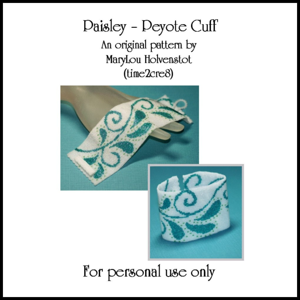SALE... Paisley Peyote Bracelet / Cuff - PDF Pattern for Personal Use Only