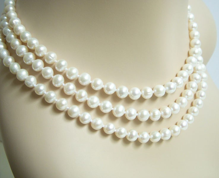 white pearl necklace triple strand bridesmaid wedding jewelry