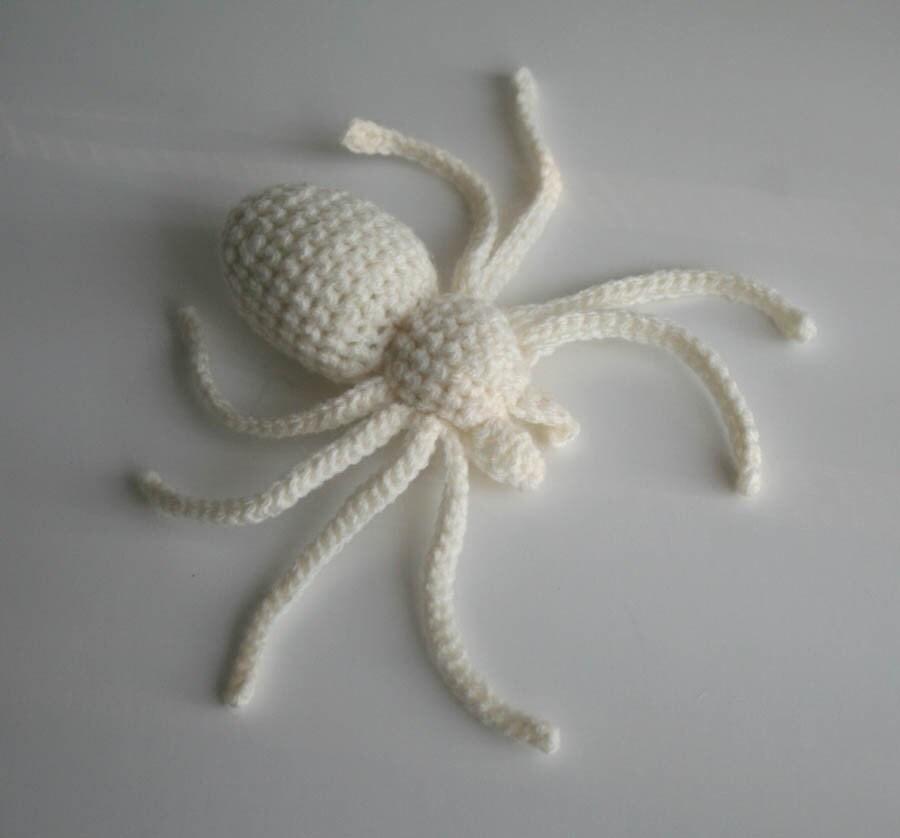 White Spider etsy halloween handmade crocheted