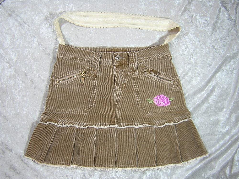 Tan Corduroy Upcycled Skirt Bag with Embroidered Details - Handmade by Rewondered D201P-00002 - $19.95