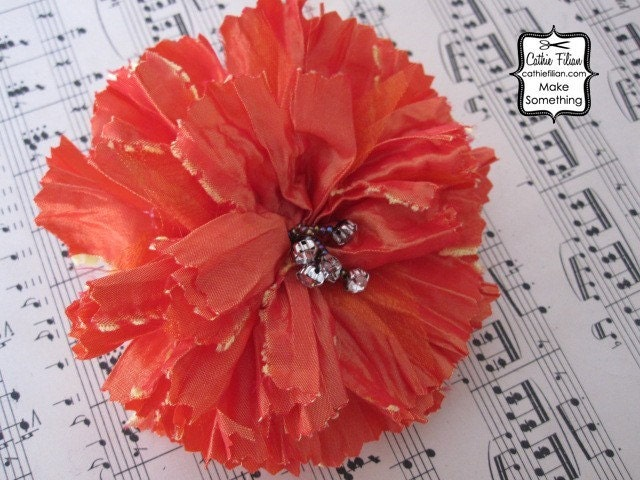 Хурма Оранжевый - Побитый ткани и Rhinestone - шелковый цветок, Дамских, Измененные Couture, волос Цветы,