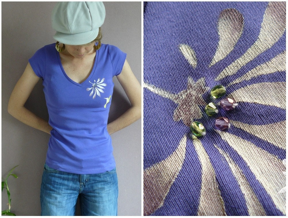 VIOLETTE embellished French women tee shirt many sizes available