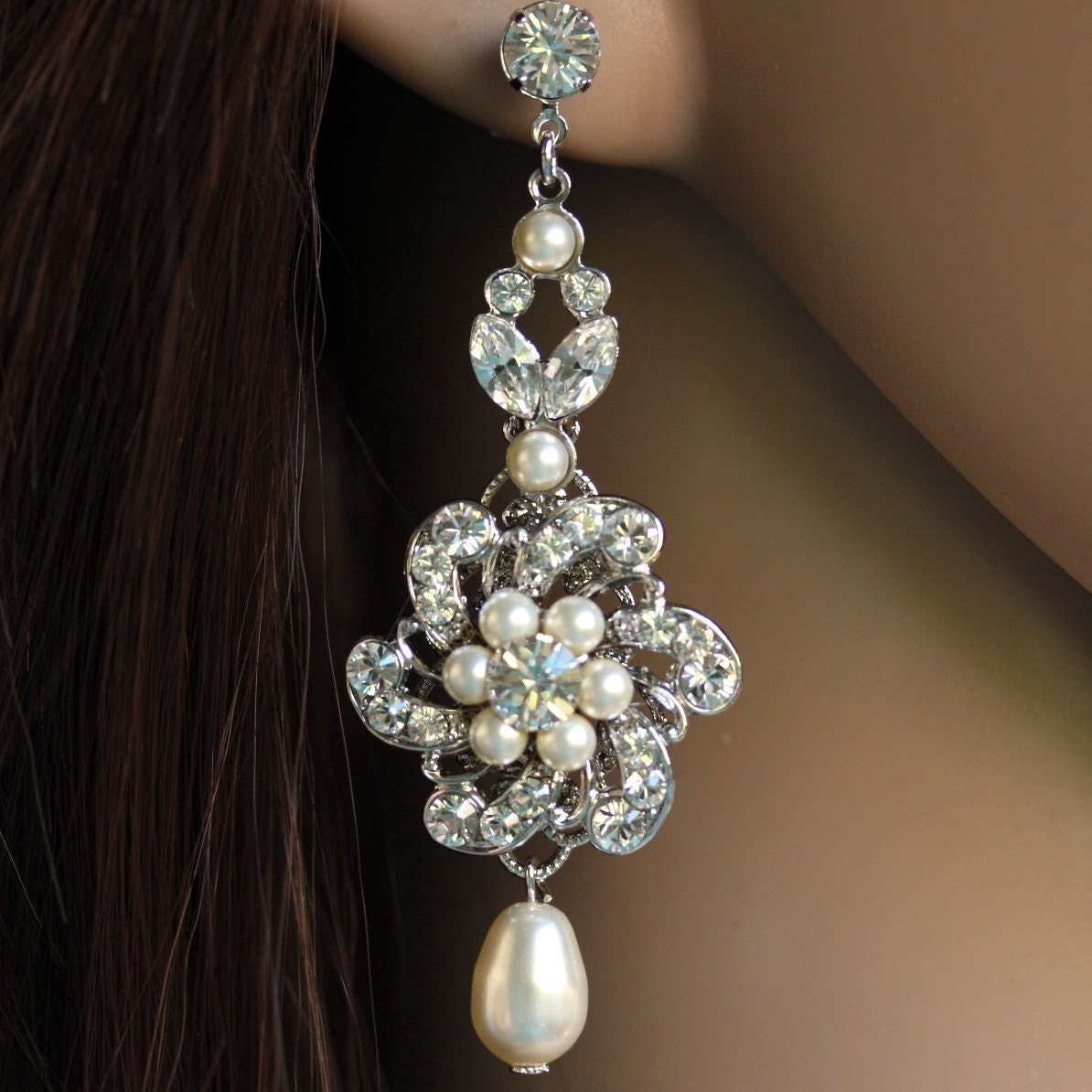 Swarovski Bridal Flower Earrings Ivory Pearl. Sabine Long Variation