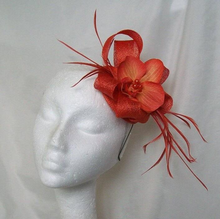 Burnt Orange Sinamay Loop Feather  Orchid Wedding Fascinator Mini Hat  Made to Order