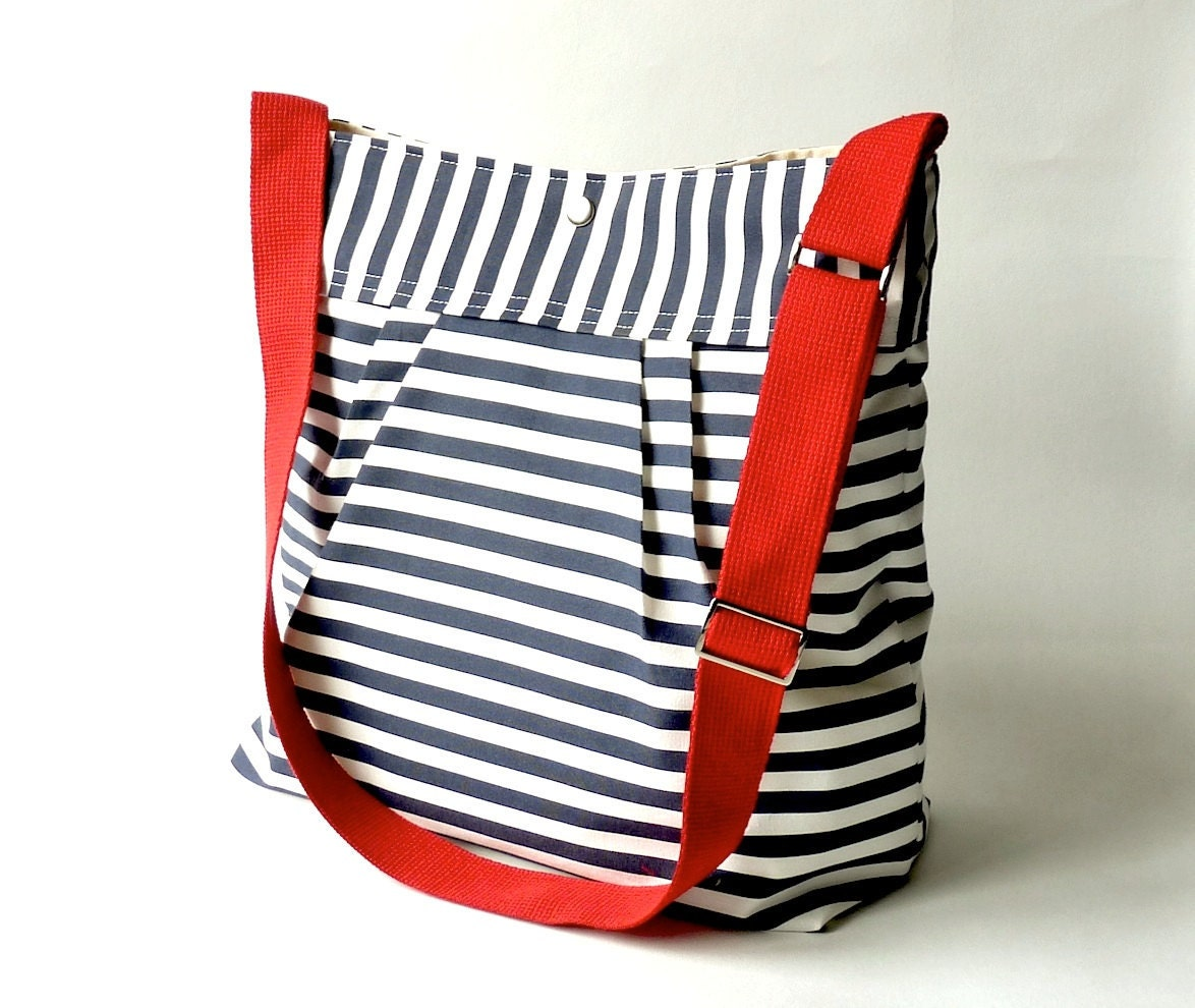 Waterproof BEST SELLER Diaper bag/Messenger bag STOCKHOLM Navy blue and white nautical striped - Martha Stewart , Baby talk magazine