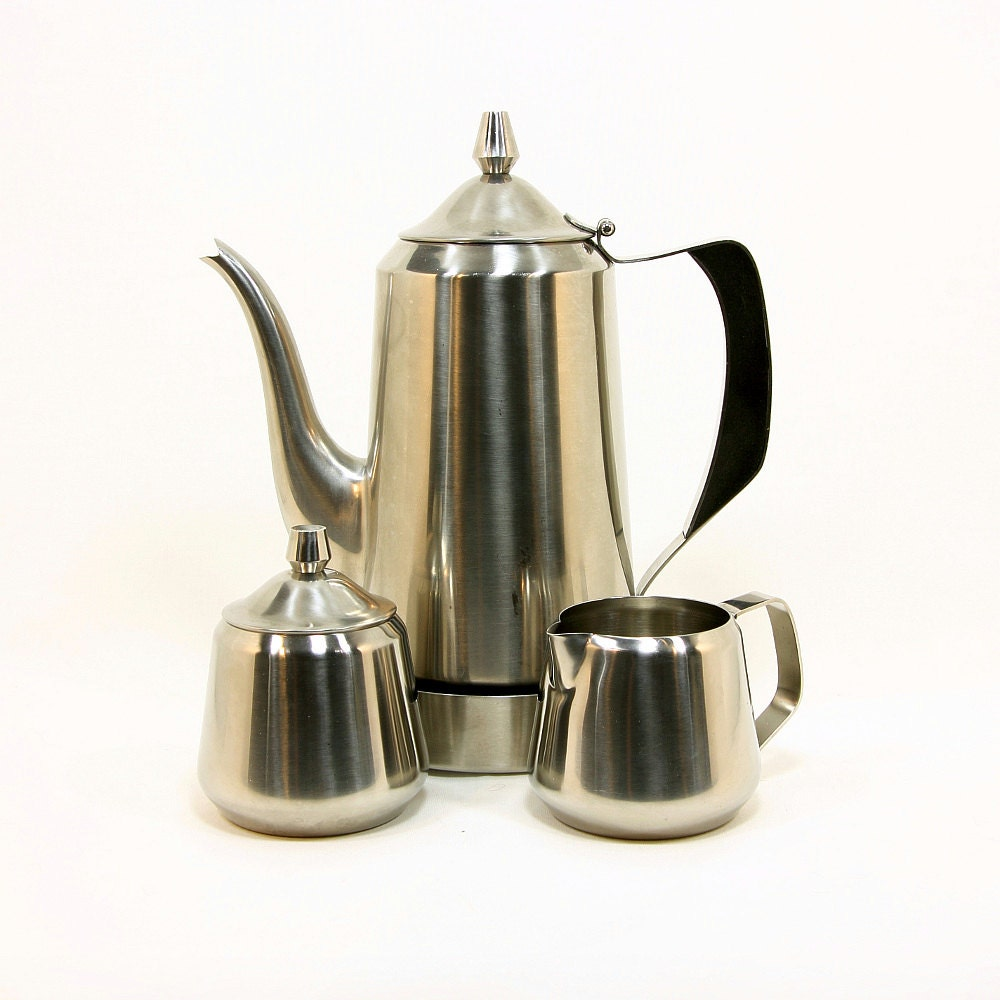 Oneida Coffee Set, 18/8 Stainless Steel Coffee Pot, Creamer and Sugar, made by Oneida, ca. 1970s