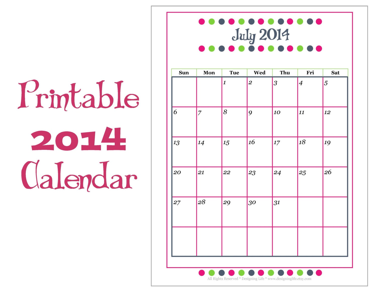 12 Month Calendar 2014 Printable