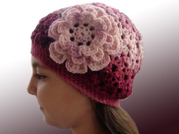 Free Shipping Crocheted Multi yarn Beret with by cookieletta from etsy.com