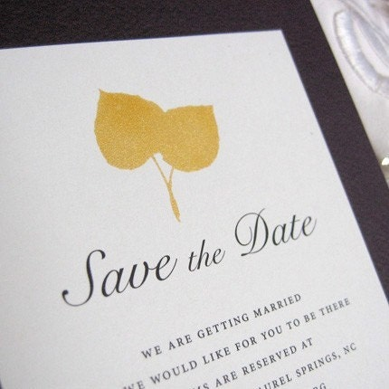 Aspen Leaf print Sample save the date card
