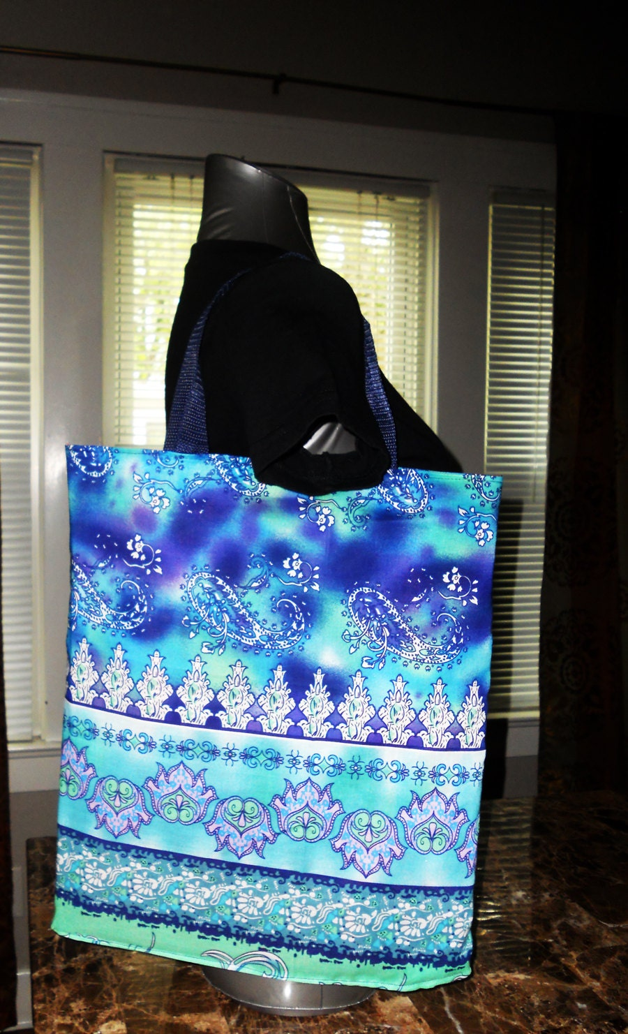 Handmade brightly ocean aqua colored floral/boho fun designed over the shoulder bag purse great summer tote