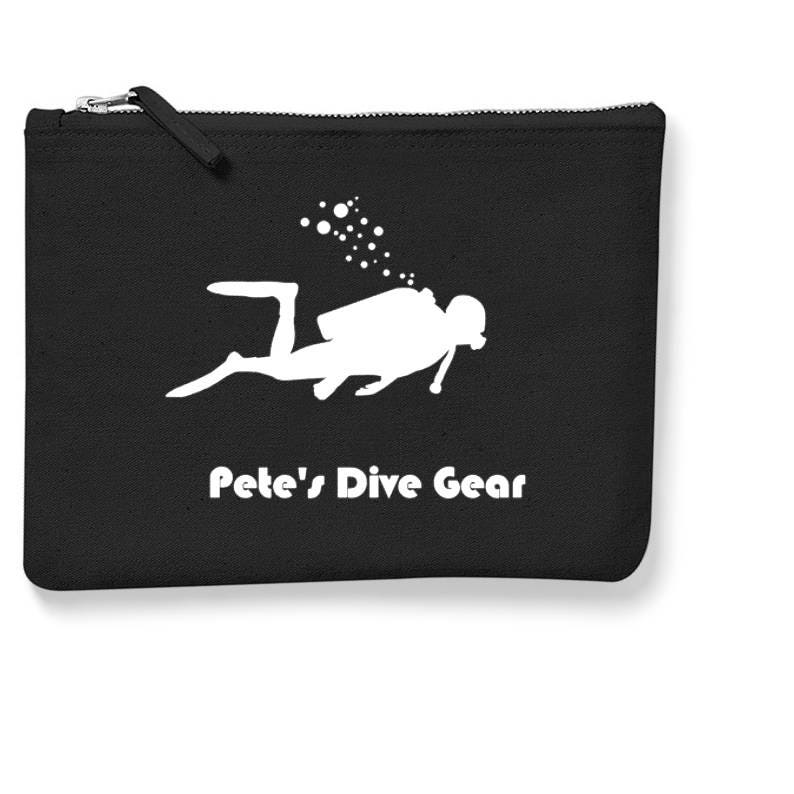 Diver Accessory CaseScuba Diving GiftPersonalised Storage PouchBag for Dive GearFathers Day GiftTravel Accessory CaseBlack Canvas Bag