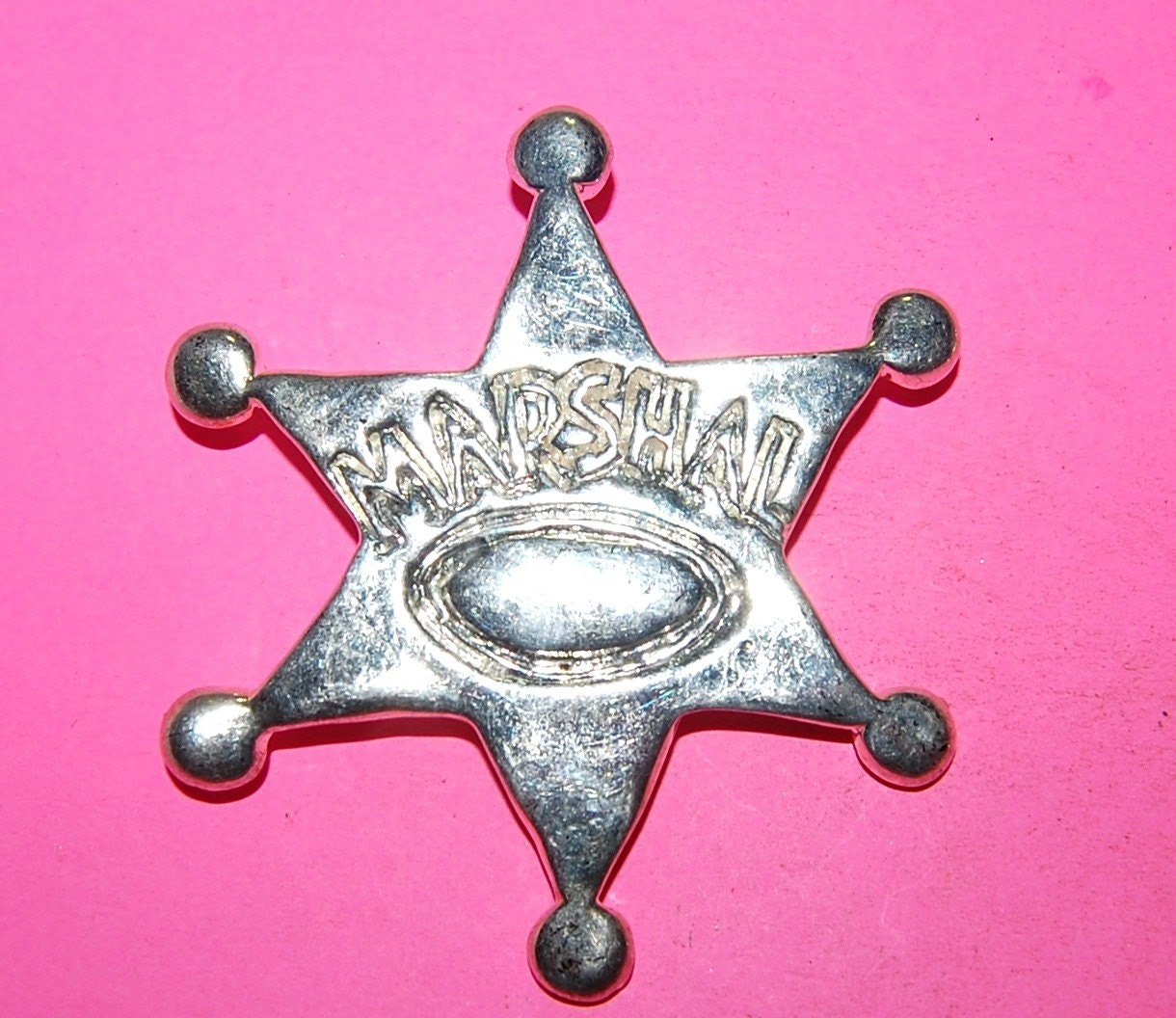 VINTAGE 2 SILVER PLATED 75MM BOLLO SHERRIF STAR FINDING J6L