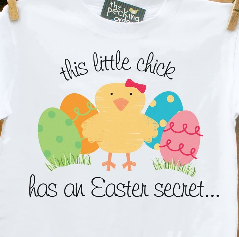 This Little Chick Has An Easter Secret plain tee Front AND Back-pregancy announcement