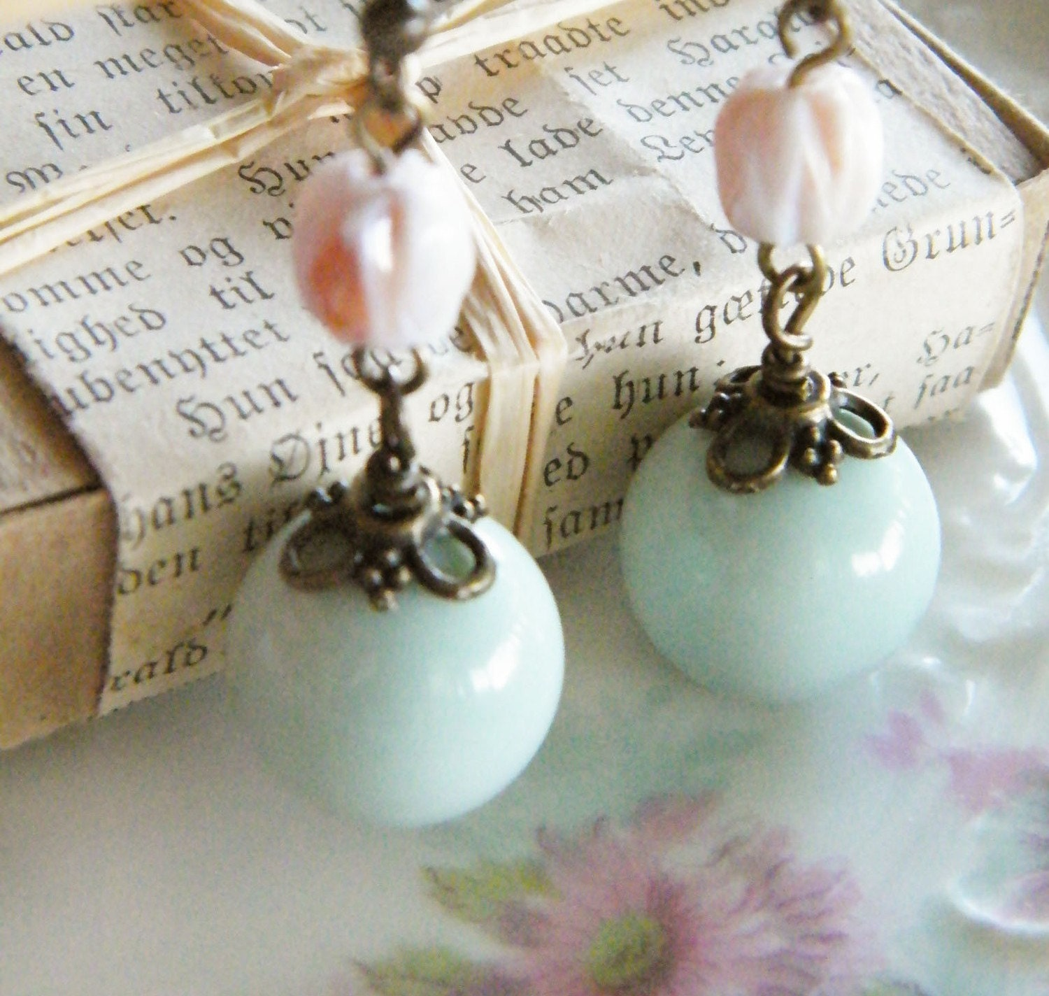 In the Garden--Vintage Bead Earrings