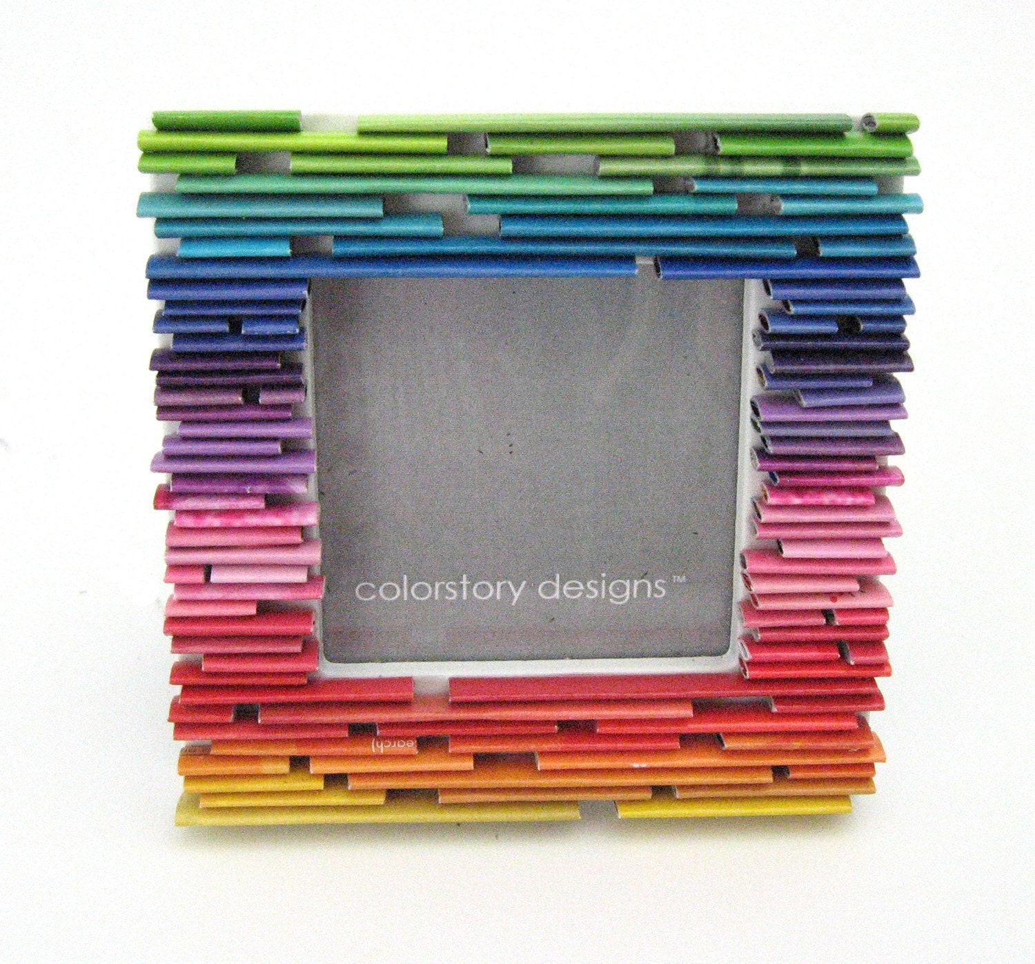 Eco friendly art gallery magazine colorstory designs recycled this gradiant picture frame is made from recycled magazines a steal at 32 jeuxipadfo Image collections