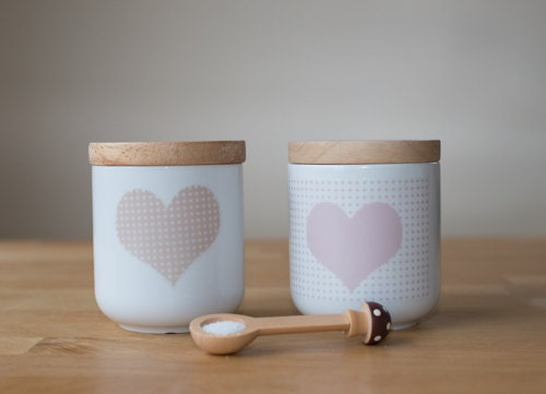 cute wooden lid ceramic canister jar pink polka dot heart - poussepoussecitron
