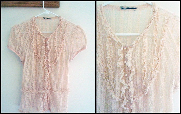 Vintage Lace Blouse Pink Button Up 80s Small Romantic