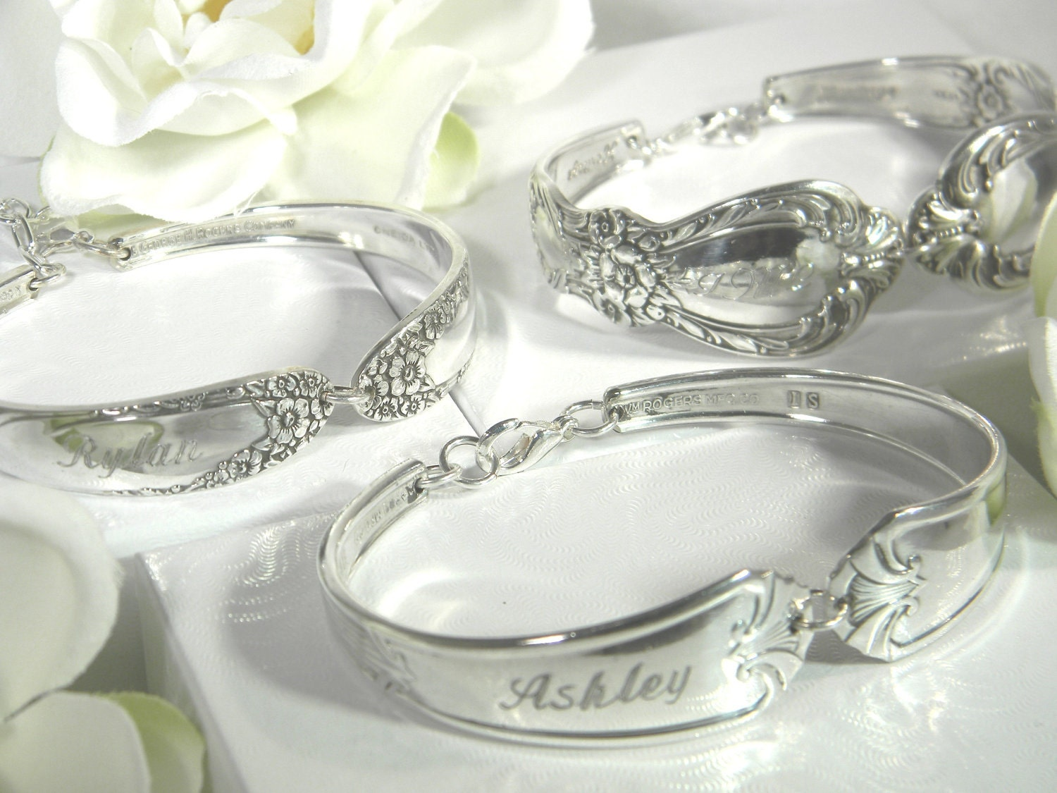 SIX (6) PERSONALIZED BRIDESMAIDS Silver Spoon Bracelets - 'You Choose Patterns - We Custom Engrave'  Multi Order Discount and Free Shipping