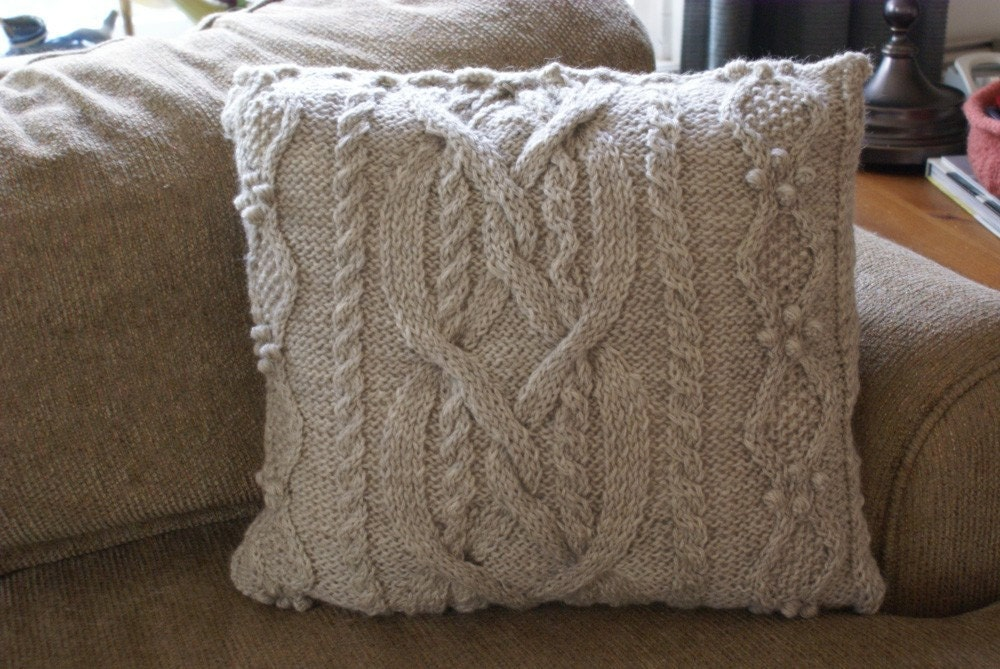 Handmade Wool Knit Cabled Pillow Sham