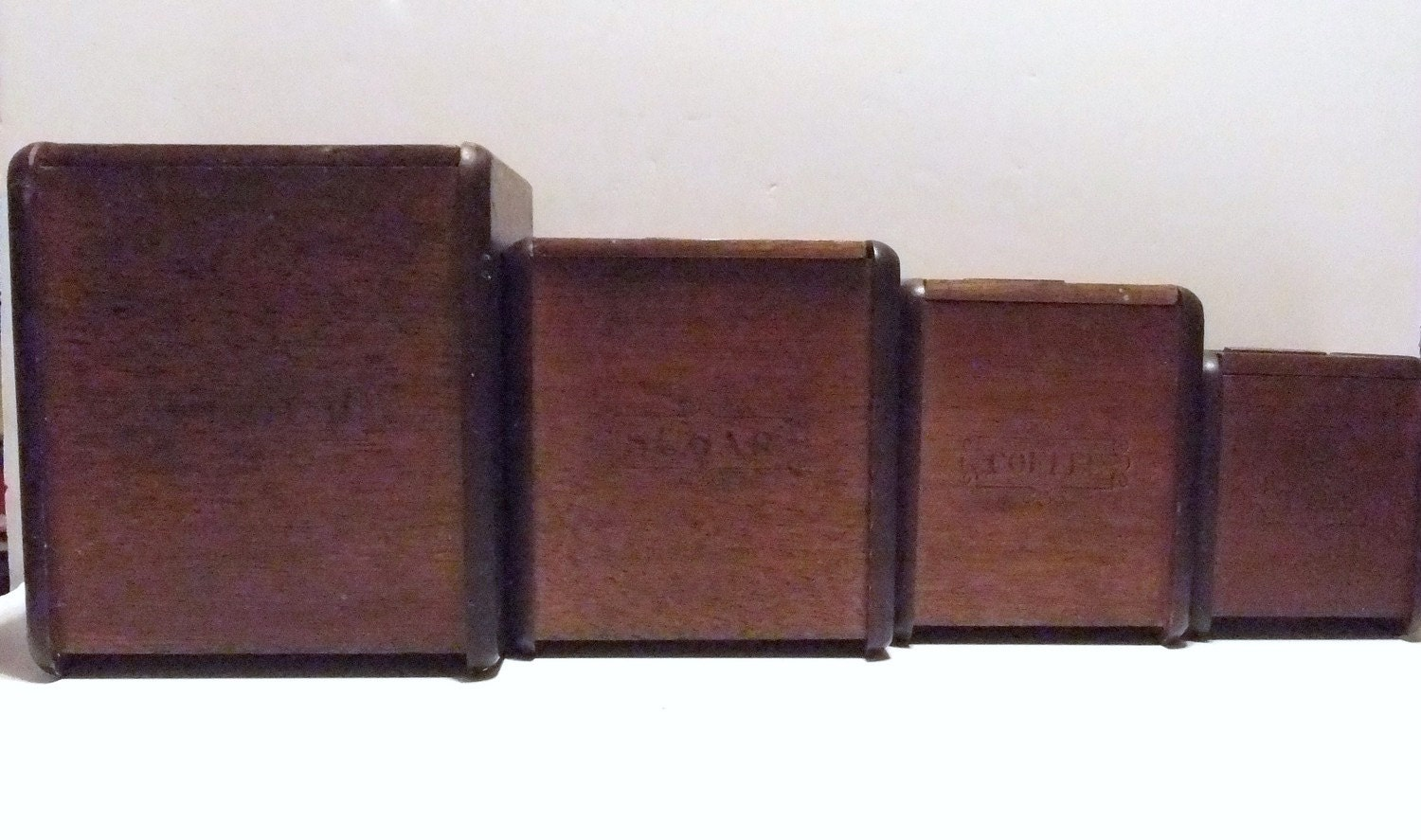 Vintage Wood Wooden Canisters Canister Set Flour By