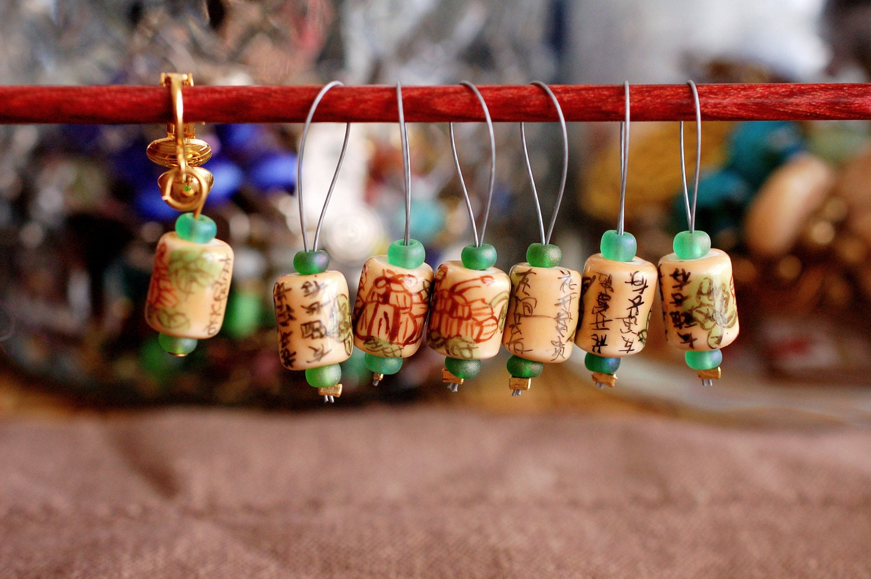 Green Tea Stitch Markers - LittleKnittyBird