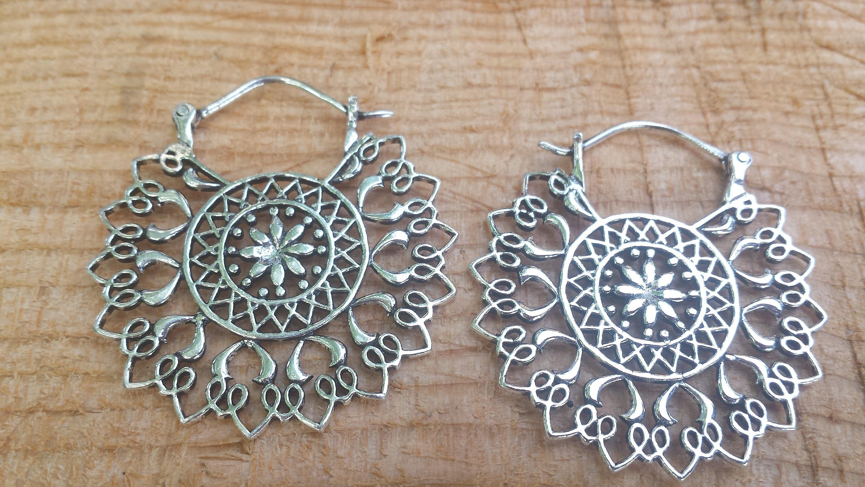 Silver Plate Mandala  Hoop Earrings Tribal Hoop Earrings Boho Earrings Gypsy Hoop Earrings Bellydance Earrings Ethnic Earrings