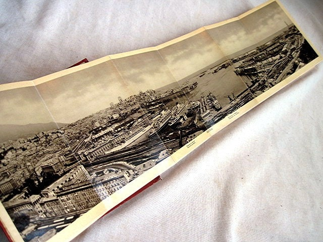 Genova. Antique accordion book.