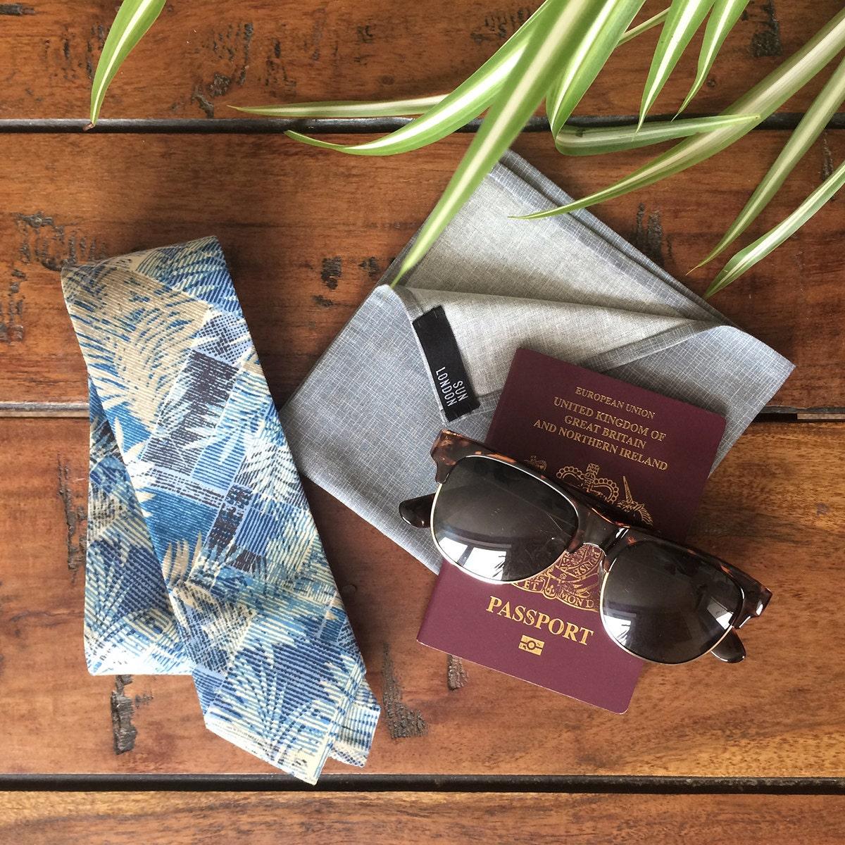Samui Blue Tropical Cotton Mens Tie Skinny Tie