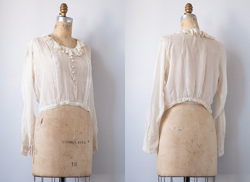 vintage 1920s blouse / 1920s sheer blouse / Edwardian antique sheer romantic blouse