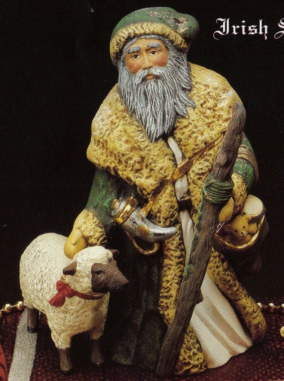 Old World Santa Claus Ceramic Set Of 2 Vintage Ceramic Old