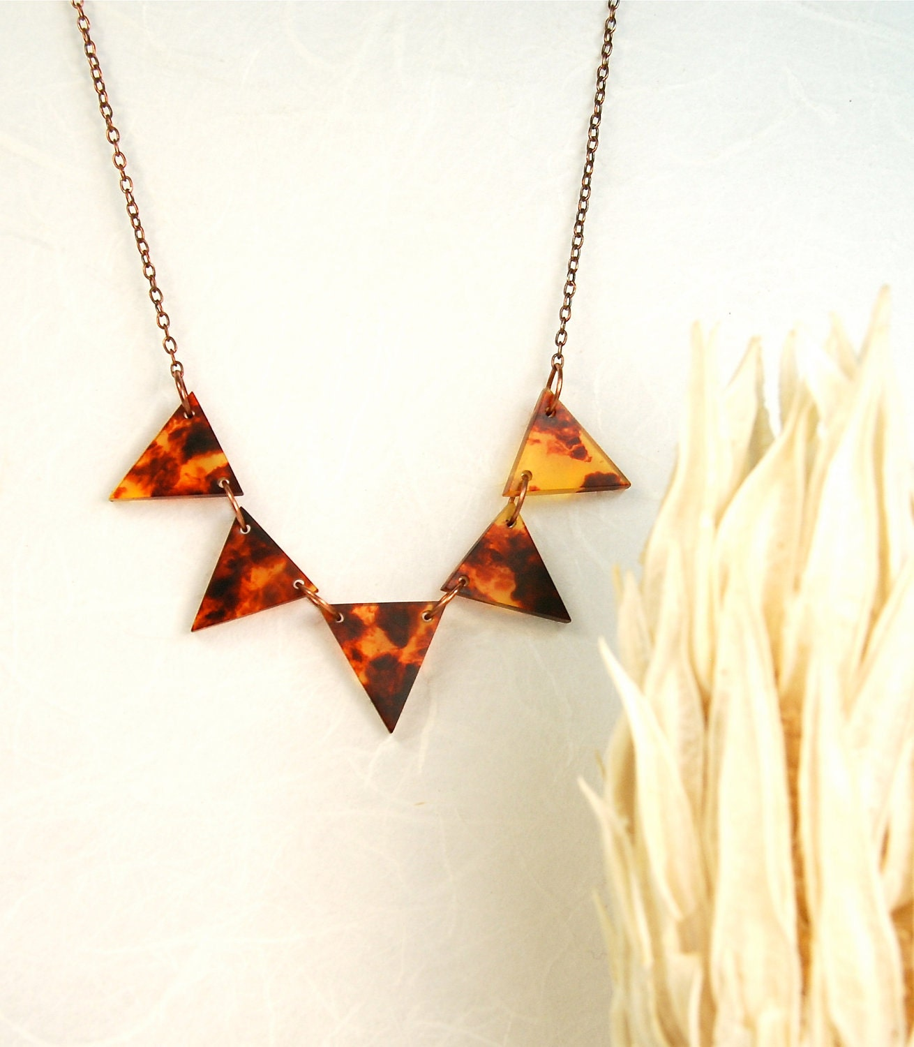 Tortoise shell geometric modern necklace fall by for Real tortoise shell jewelry