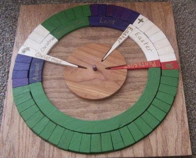 Christian Liturgical Calendar - PAINTED with unpainted available - domestic shipping included