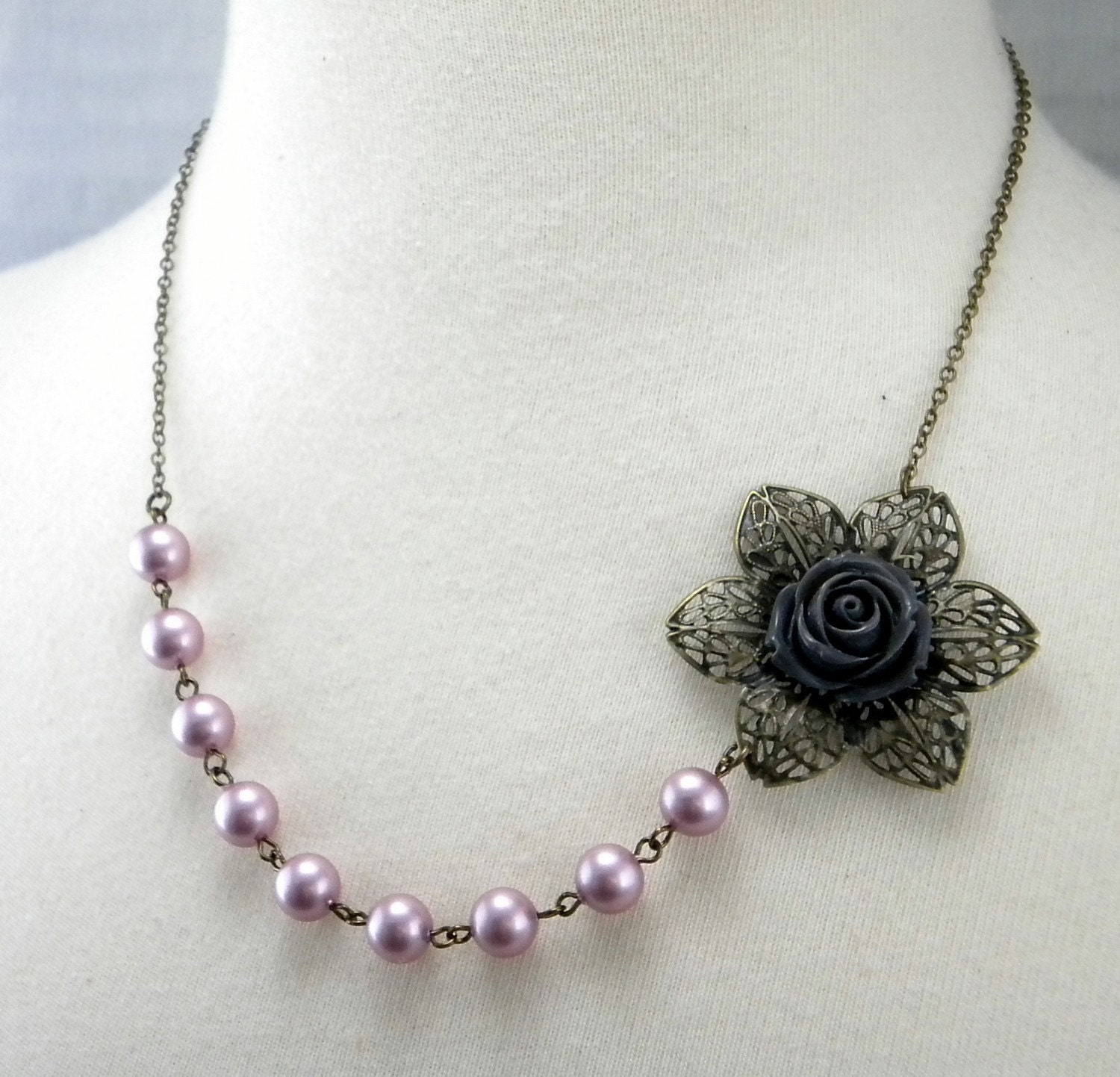 Pewter and Pink Posy Necklace