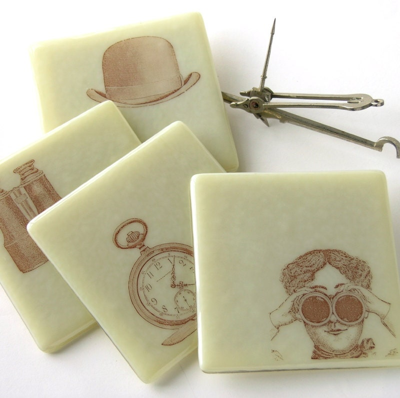 Steampunk . Gothic . Fused Glass Coasters . Bowler Hat . Sepia . Ivory Colored . Timepiece - nanettebevan