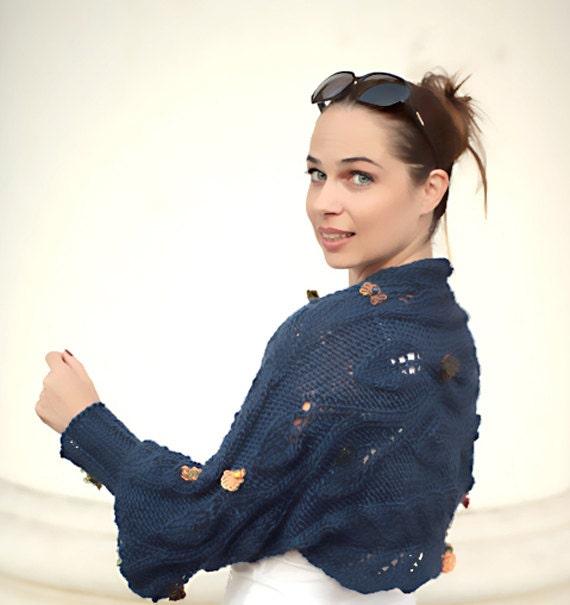 Blue Shrug/ Hand Knit Shrug/ Spring Shrug/ Wool Shrug/ Autumn Shrug/ Blue Bolero/ Wool Sweater/navy blue/ Women fashion by Solandia