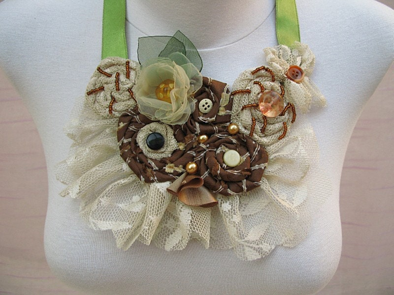 Bib Style Necklace with Beige/Cream Tulle Fabric by nezjewelry from etsy.com