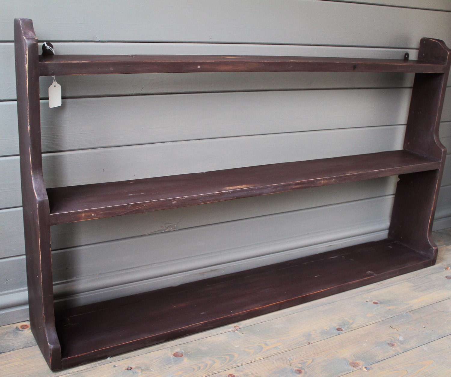 Antique Pine Painted Open Back Shelving Unit rustic shabby chic kitchen shelving
