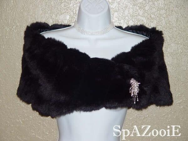 BLACK FAUX FUR BRIDAL CAPE SHRUG STOLE WRAP SHAWL COAT