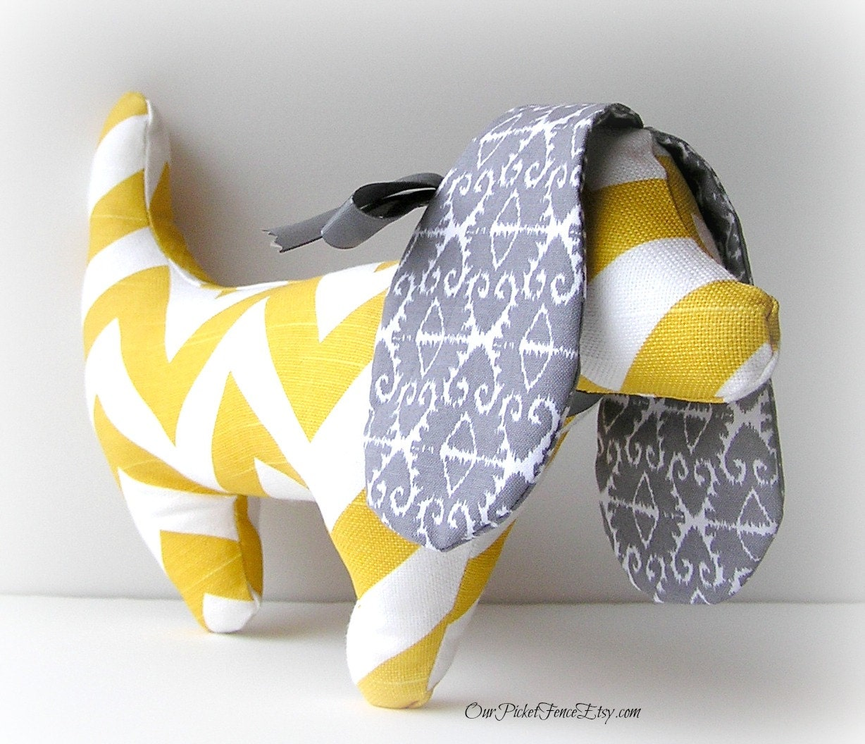 Yellow and Gray Chevron Dachshund Dog - OurPicketFence