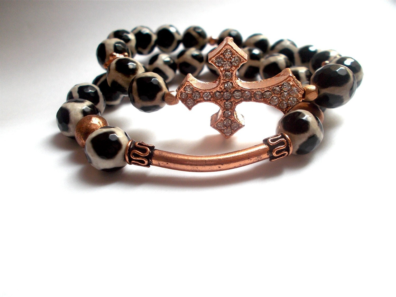 Cross Bracelet, Tibetan (giraffe) agate, Rose Gold cross bracelet set
