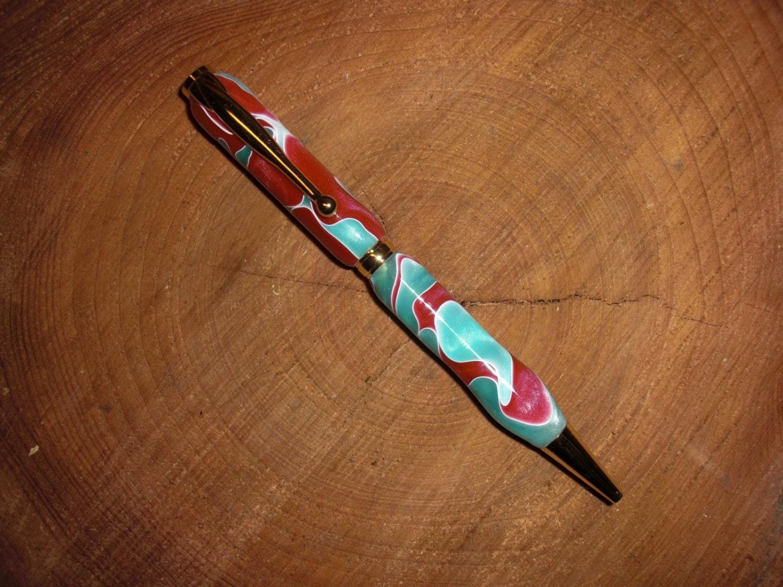 1046 Crimson Jade Acrylic Gold Pen Kit