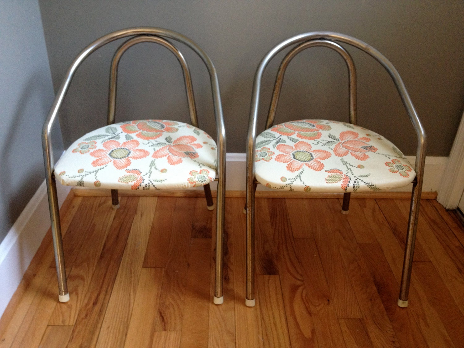 Set of 2 Upcycled Vintage Children's Metal Folding Chairs