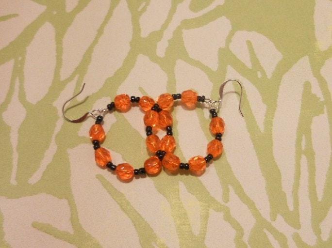 Orange and Black Halloween Earrings