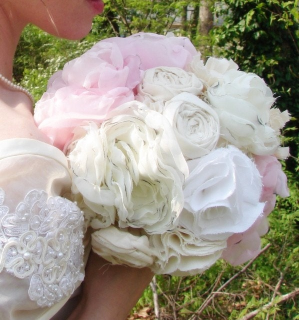 Fabric Flower Bouquets Vintage Wedding Bride and Bridesmaid Cotton and