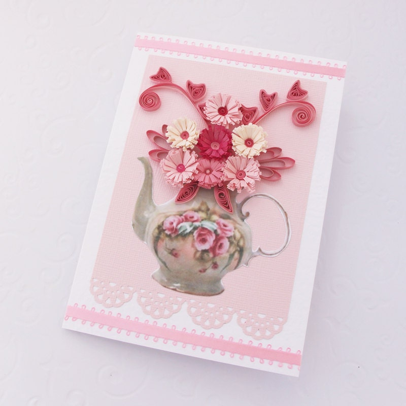 Paper Quilling Greeting Card Paper Quilled TEAPOT Pink Fuchsia Paper Flowers BirthdayTea Party Shower Birthday Congratulations Handmade