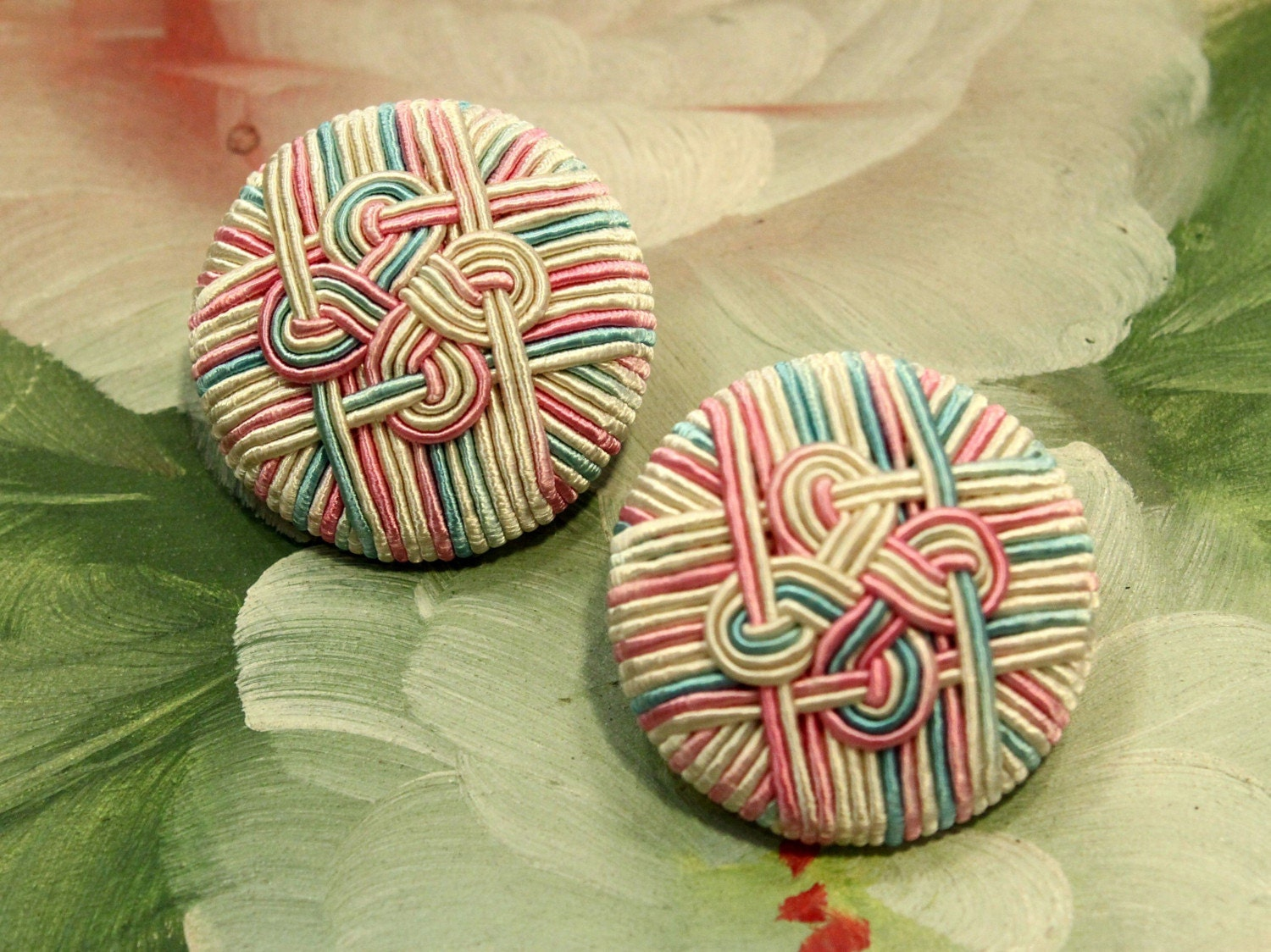 1 Pair - Pastel Color - Hand Embroidered Celtic Knot Buttons - 29mm